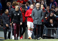 Manchester United manager Jose Mourinho (second right) walks out for the UEFA Europa League, Quarter Final match at Old Trafford, Manchester.
