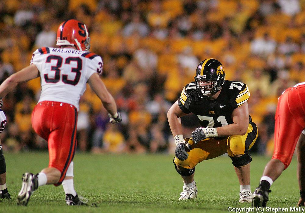 08 SEPTEMBER 2007: Iowa offensive tackle Seth Olsen (71) in Iowa's 35-0 win over Syracuse at Kinnick Stadium in Iowa City, Iowa on September 8, 2007.