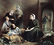 Florence Nightingale (1820-1910) British nurse and statistician, in hospital at Scutari 1 January 1855 writing letters for wounded soldiers of the Crimean War.