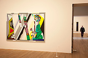 "London, UK. Monday 18th February 2013. Lichtenstein: A Retrospective at  Tate Modern brings together 125 of artist Roy Lichtenstein's most definitive paintings and sculptures. Reflections on ""Interior with Girl Drawing"" (1990)"