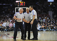 NBA referee Jim Clark, from left, Bennett Salvatore and Greg Willard discuss a foul..The Cleveland Cavaliers defeated the Boston Celtics 108-84 in Game 3 of the Eastern Conference Semi-Finals at Quicken Loans Arena in Cleveland.