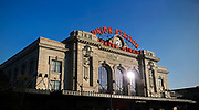 SHOT 8/28/18 7:30:02 AM - Denver Union Station is the main railway station and central transportation hub in Denver, Colorado. It is located at 17th and Wynkoop Streets in the present-day LoDo district and includes the historic terminal building, a train shed, a 22-gate underground bus facility, and light rail station. In 2012, the station underwent a major renovation transforming it into the centerpiece of a new transit-oriented mixed-use development built on the site's former railyards. The station house re-opened in the summer of 2014 as a combination of the 112-room Crawford Hotel, several restaurants and retailers, and the great hall. (Photo by Marc Piscotty / © 2018)