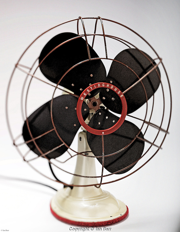 Still life of old westinghouse table fan with watercolor effect.