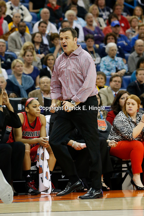 Apr 9, 2013; New Orleans, LA, USA; Louisville Cardinals head coach Jeff Walz reacts against the Connecticut Huskies during the second half of the championship game in the 2013 NCAA womens Final Four at the New Orleans Arena. Mandatory Credit: Derick E. Hingle-USA TODAY Sports