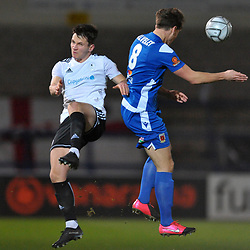 TELFORD COPYRIGHT MIKE SHERIDAN Ross White of Telford battles for a header with Mike Calveley of Chorley during the Vanarama Conference North fixture between AFC Telford United and Chorley at the New Bucks Head Stadium on Tuesday, November 17, 2020.<br /> <br /> Picture credit: Mike Sheridan/Ultrapress<br /> <br /> MS202021-044