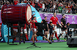 Wales' Alun Wyn Jones heads out ahead of the 2019 Rugby World Cup bronze final match at Tokyo Stadium.