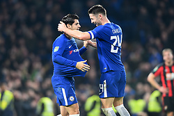 December 20, 2017 - London, England, United Kingdom - Chelsea Defender Gary Cahill and Alvaro Morata celebrate the late goal to win during the Carabao Cup Quarter - Final match between Chelsea and AFC Bournemouth at Stamford Bridge, London, England on 20 Dec 2017. (Credit Image: © Kieran Galvin/NurPhoto via ZUMA Press)