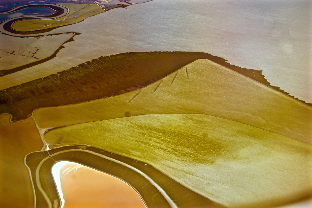 Aerial, wetland and salt flats graphic designs, San Francisco Bay airport approach.