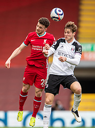 LIVERPOOL, ENGLAND - Sunday, March 7, 2021: Liverpool's Diogo Jota (L) and Fulham's Joachim Andersen during the FA Premier League match between Liverpool FC and Fulham FC at Anfield. Fulham won 1-0 extending Liverpool's run to six consecutive home defeats. (Pic by David Rawcliffe/Propaganda)