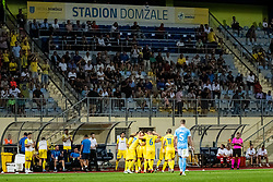 Players of NK Domzale celebrating 2nd goal during Football match between NK Domzale and Malmo FF in Second Qualifying match of UEFA Europa League 2019/2020, on July 25th, 2019 in Sports park Domzale, Domzale, Slovenia. Photo by Grega Valancic / Sportida