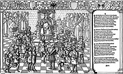 Urban II, Pope (1088-99) presiding over Council of Claremont of 1095 which launched the First Crusade. Woodcut from 'Grand voyage de Hierusalem' 1522.