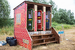 Roydon, Essex, UK. 27 July, 2019. Some of the toilet facilities at Reclaim The Power's Power Beyond Borders mass action camp.