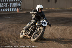 """Justin Walls racing the number 24 Brat Style Harley-Davidson 1947 WL 45"""" Flathead at the Okie Dokie Vintage Races put on by Go Takamine's Brat Style at West Point Off-Road Village, Kawagoe, Saitama, Japan. Tuesday, December 4, 2018. Photography ©2018 Michael Lichter."""