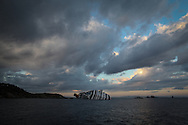 The Costa Concordia Cruise ship with the rescue boats