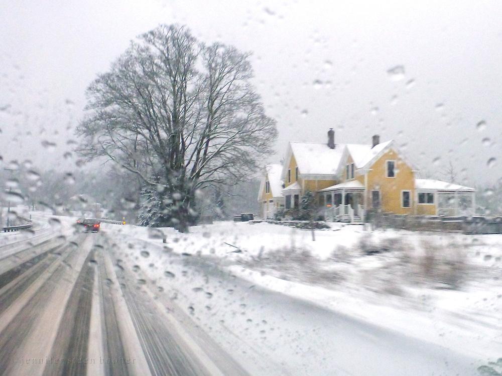 Driving through a snow storm, Bar Harbor, Maine.
