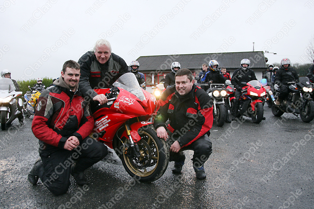 Shane Murphy and Cathal O Donoghue who sponsor Keith Meere's Yamaha R6 with Jimmy Meere at the Coast Bike Run fundraiser on Sunday.<br /><br />Photograph by Yvonne Vaughan.