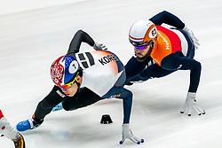Sjinkie Knegt in action on the 1500 meter during ISU World Cup Finals Shorttrack 2020 on February 15, 2020 in Optisport Sportboulevard Dordrecht.