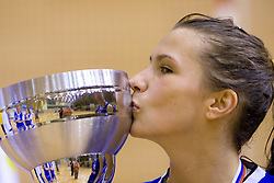 Iva Ciglar of Celje kisses the Cup at finals match of Slovenian 1st Women league between KK Hit Kranjska Gora and ZKK Merkur Celje, on May 14, 2009, in Arena Vitranc, Kranjska Gora, Slovenia. Merkur Celje won the third time and became Slovenian National Champion. (Photo by Vid Ponikvar / Sportida)
