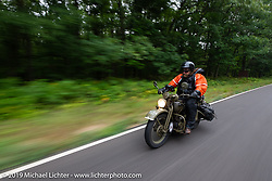 Randy Samz riding his 1942 Harley-Davidson WLA during the Cross Country Chase motorcycle endurance run from Sault Sainte Marie, MI to Key West, FL. (for vintage bikes from 1930-1948). Stage 1 from Sault Sainte Marie to Ludington, MI USA. Friday, September 6, 2019. Photography ©2019 Michael Lichter.