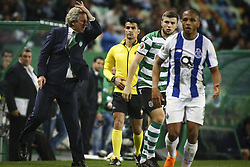 April 18, 2018 - Lisbon, Portugal - Sporting's coach Jorge Jesus (L) gestures from the sideline next to Sporting's Macedonian defender Stefan Ristovski  during the Portuguese Cup football match between Sporting CP and FC Porto at Jose Alvalade  Stadium in Lisbon on April 18, 2018. (Credit Image: © Carlos Costa/NurPhoto via ZUMA Press)