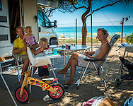 Costa Rei, Sardinia, Italy, June 2015. Nick Jagt family on Camping Capo Ferrato, which is situated right on the beach. Costa Rei is located on the south coast of Sardinia about 50km from Cagliari. The coastline is renowned for its crystal clear water, golden sands and long beaches. Photo by Frits Meyst / MeystPhoto.com