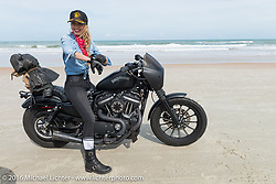 """Leticia Cline of the """"Iron Lillies"""" on the beach at Daytona Bike Week 75th Anniversary event. FL, USA. Thursday March 3, 2016.  Photography ©2016 Michael Lichter."""