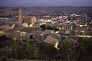 Artajona, Navarra, Spain, at dusk.