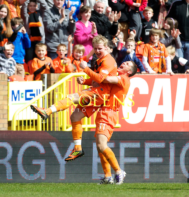 SPL Dundee United FC v  Hearts FC Scottish Premier League Season 2011-12.28-04-12...Dundee United's Gary Mackay Steven celebrates with John Rankin after scoring goal number 2 to make it 2-1 to United       during the Scottish premier League clash between Euro spot chasing Dundee United FC and Heart of Midlothian FC...At Tannadice Stadium, Dundee..Saturday 28th April 2012.Picture Mark Davison/ Prolens Photo Agency / PLPA