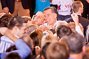 13 FEBRUARY 2012 - MESA, AZ:   MITT ROMNEY shakes hands with supporters while campaigning for the Republican nomination for President in Mesa, AZ. Several thousand people crowded into the Mesa Amphitheatre in Mesa Monday night to hear Romney speak. Romney, a Mormon, is expected to win in Arizona, which has a large Mormon population. Arizona's Republican primary in February 28.      PHOTO BY JACK KURTZ