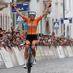 TRENTO (ITA): CYCLING: SEPTEMBER 11th: <br /> Ellen van Dijk has captured the European title in the road race for elite women at the European Cycling Championships in Trentino. The Dutch rider successfully completed a 23-kilometer solo, while her compatriots Annemiek van Vleuten and Demi Vollering crippled the chase in an elite group behind her. Liane Lippert took silver, Rasa Leleivytė bronze.