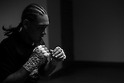 Francisco Trevino warms up backstage before his fight against Johnny Case during UFC 188 at the Mexico City Arena in Mexico City, Mexico on June 13, 2015. (Cooper Neill)
