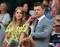 Tennis - 2017 Wimbledon Championships - Week One, Friday [Day Five]<br /> <br /> Womens Singles Third Round match<br /> Heather Watson (GBR) v Victoria Azarenka (BLR) <br /> <br /> Ex Irish Rugby Union Player, Brian O'Driscoll with Ms Amy Huberman, in the Royal box on Centre court <br /> <br /> COLORSPORT/ANDREW COWIE