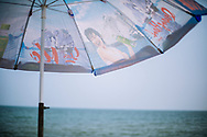 Advertising printed on an umbrella, Nam Dinh Province, Vietnam, Southeast Asia
