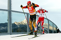 Kombinert , 19. januar 2014 , NORDISCH, NORDISCHE KOMBINATION, LANGLAUF - FIS Weltcup, Nordic Triple, Gundersen 15km. Bild zeigt Eric Frenzel (GER) und Haavard Klemetsen (NOR).<br /> <br /> Norway only