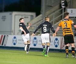 Falkirk's Bob McHugh scoring their fourth goal. <br /> Falkirk 5 v 0 Alloa Athletic, Scottish Championship game played at The Falkirk Stadium.
