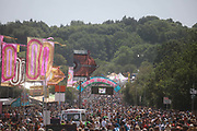 Glastonbury Festival on June 27th 2019 in Glastonbury, Somerset, United Kingdom. The festival has been going for decades and this year the sun is beating down promising a dry weekend.