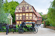 Horse and carriage at Den Gamle By, The Old Town, open-air folk museum at Aarhus in East Jutland, Denmark