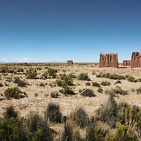 Ancient ruins scatted across the altiplano near Eucaliptus, Oruro Department, Bolivia
