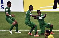 Fotball<br /> Asiamesterskapet / Asian Cup<br /> Saudi Arabia v Nord Korea<br /> 14.01.2015<br /> Foto: imago/Digitalsport<br /> NORWAY ONLY<br /> <br /> Players of Saudi Arabia celebrate scoring during a Group B match between the Democratic s Republic of Korea (DPRK)and Saudi Arabia of the AFC Asian Cup in Melbourne, Australia, Jan. 14, 2015. Saudi Arabia won 4-1.