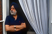 A portrait of Indian writer, Patwant Singh in the summer of 1994 while at an address in London, England. Singh 1925 - 2009 was one of Indias leading writers on international and cultural affairs and the environment. His articles appeared in The New York Times, Canadas Globe and Mail, the UKs Independent, and elsewhere. He is author of The Sikhs John Murray, 1999 and Knopf, 2000.