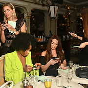 Claudia Sowaha, Lilly Douse, Tonique Campbell, Lois Bowden and  Chloe Adlerste in Bachelor girls contestant attend The Bachelor UK 2019 launch night - The girls private screening on Channel 5 at Beach Blanket Babylon on 4 March 2019, London, UK