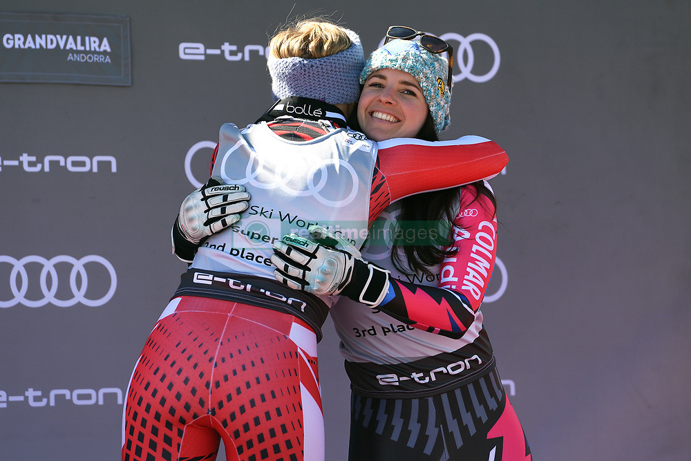 March 14, 2019 - ANDORRA - Nicole Schmidhofer (AUT) & Tina Weirather (LIE) in Podium Ladies Super Giant of Audi FIS Ski World Cup 18/19, in Grandvalira Soldeu/El Tarter, Andorra. (Credit Image: © AFP7 via ZUMA Wire)