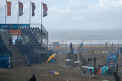 Dark Clouds, rain and wind during the DELA NK Beach volleyball for men and women will be played in The Hague Beach Stadium on the beach of Scheveningen on 22 July 2020 in Zaandam.