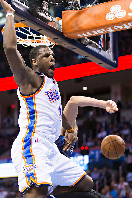 OKLAHOMA CITY, OK - JANUARY 13:  Dion Waiters #3 of the Oklahoma City Thunder yells after he dunks the basketball against the Dallas Mavericks at Chesapeake Energy Arena on January 13, 2016 in Oklahoma City, Oklahoma.  NOTE TO USER: User expressly acknowledges and agrees that, by downloading and or using this photograph, User is consenting to the terms and conditions of the Getty Images License Agreement.   The Thunder defeated the Mavericks 108-89.  (Photo by Wesley Hitt/Getty Images) *** Local Caption *** Dion Waiters