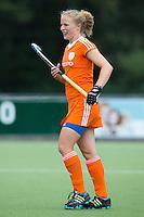 EINDHOVEN - Sam Saxton, zaterdag bij de oefenwedstrijd tussen het Nederlands team van Jong Oranje Dames en dat van de Vernigde Staten. Volgende week gaat het WK-21 in Duitsland van start. FOTO KOEN SUYK