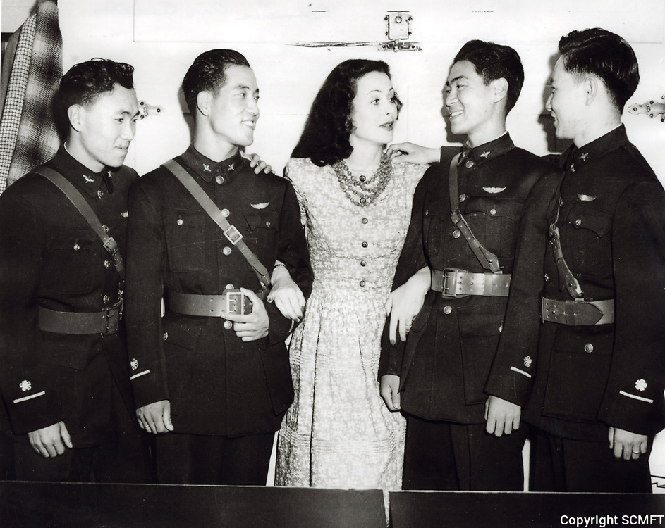 1944 Visiting Chinese Air Cadets surround Hedy Lamar at the Hollywood Canteen