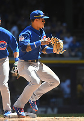 June 13, 2018 - Milwaukee, WI, U.S. - MILWAUKEE, WI - JUNE 13: Chicago Cubs Second base Javier Baez (9) transfers the ball to his throwing hand during a MLB game between the Milwaukee Brewers and Chicago Cubs on June 13, 2018 at Miller Park in Milwaukee, WI. The Brewers defeated the Cubs 1-0.(Photo by Nick Wosika/Icon Sportswire) (Credit Image: © Nick Wosika/Icon SMI via ZUMA Press)