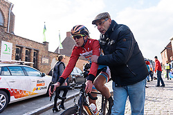 Race winner Christine Majerus (Boels Dolmans) is rushed to the podium at Dwars door de Westhoek 2016. A 127km road race starting and finishing in Boezinge, Belgium on 24th April 2016.