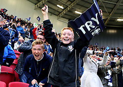 Young Bristol fans celebrate a try - Mandatory byline: Robbie Stephenson/JMP - 25/05/2016 - RUGBY UNION - Ashton Gate Stadium - Bristol, England - Bristol Rugby v Doncaster Knights - Greene King IPA Championship Play Off FINAL 2nd Leg.