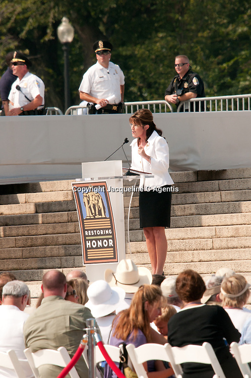 """Sarah Palin speaking at the Glen Beck Ralley Restoring Honor Washington DC at the Lincoln Memorial on the Day of Martin Luther King """"I Have A Dream"""" Speech."""